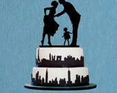 Bride and Groom Kiss Cake Topper,Romantic Acrylic Wedding Cake Topper,Silhouetter Cake Topper with Child-rustic Cake Topper