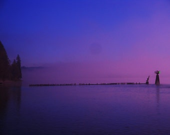 Desktop Background Photo - Columbia River, Moon Shadow showing through Fog Lifting on River,  Astoria, Oregon