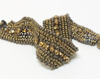 Bronze Firepolished Beads with Dark and Light Bronze Seed Beads  Peyote Beadwoven Seed Bead Bracelet OOAK Jewelry