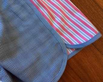 Pajama shorts blue gingham/blue, white and fuchsia stripes