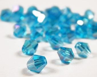 50 Pcs - 6mm Sky Blue Glass Bicone Beads - Bicone - Glass Beads - Jewelry Supplies