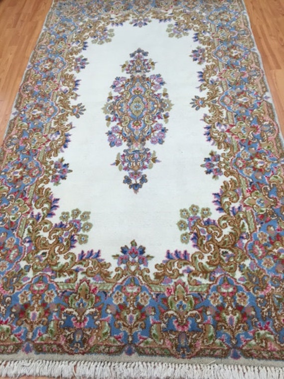 4' x 7' Persian Kerman Oriental Rug - Hand Made - 100% Wool