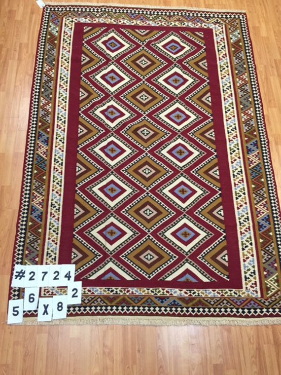 "5'6"" x 8'2"" Persian Kilim Oriental Rug - Very Fine - Hand Made - 100% Wool - Flat Weave"