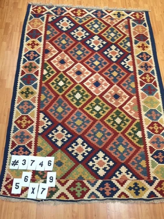 "5'6"" x 7'9"" Persian Kilim Oriental Rug - Hand Made - 100% Wool - Flat Weave"
