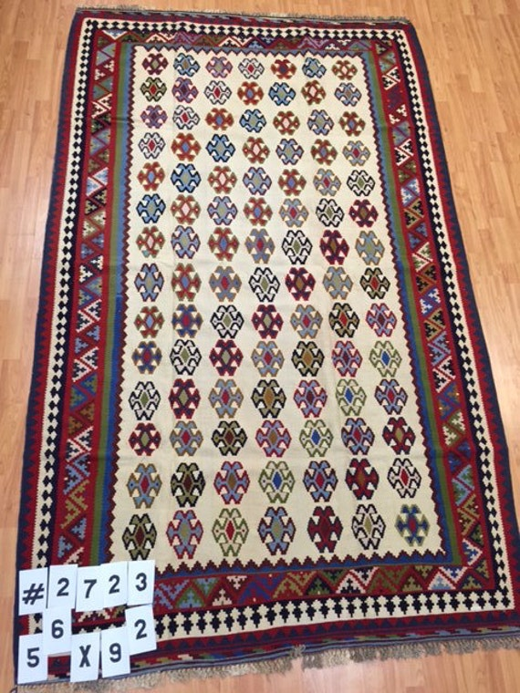 "5'6"" x 9'2"" Persian Kilim Oriental Rug - Hand Made - 100% Wool - Flat Weave - Very Fine"