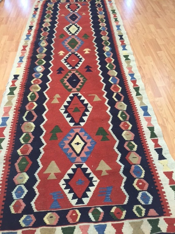 "3'4"" x 9'5"" Persian Kilim Runner Oriental Rug - Hand Made - 100% Wool - Flat Weave"
