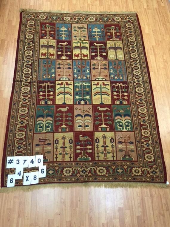 "6'4"" x 8'6"" Persian Kilim Sumac Oriental Rug - Hand Made - 100% Wool - Flat Weave"