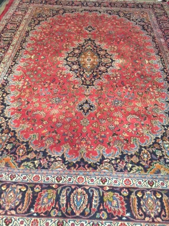 "9'10"" x 12'10"" Persian Mashad Oriental Rug - 1980s - Hand Made - 100% Wool - Full Pile - Vintage"