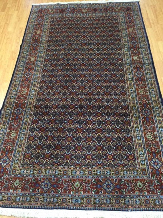 "4'9"" x 8' Persian Moud Oriental Rug - Wool & Silk - Hand Made"