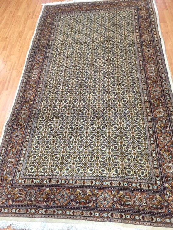 """4'10"""" x 8'7"""" Persian Moud Fish Design Oriental Rug - Hand Made - 100% Wool - Gallery Size"""