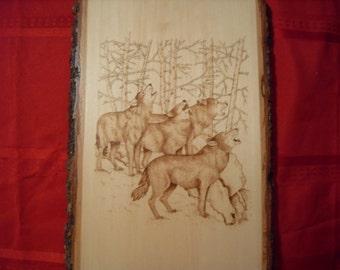 Hand Wood Burned Wolves Scene
