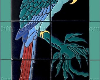 Single Green Parrot - Tile Mural