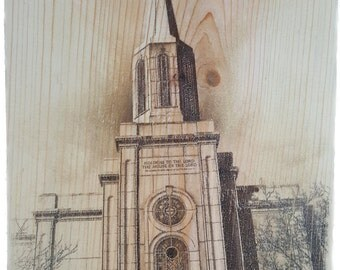 Distressed LDS Temple on Wood