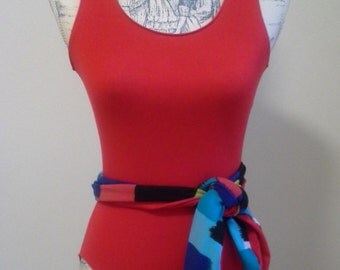 80s style red/arcadia print leotard with sash,  inspired by vintage 1980's pattern