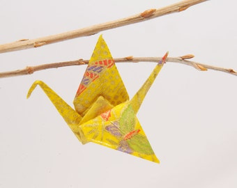"""Origami """"Crane with gold and multicolored butterflies"""" brooch"""