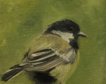 Little Bird, Chickadee, Original 5x7 Oil Painting on Canvas, with or without frame