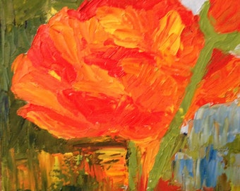 Poppie In the Rough, Original 8x10 Oil Painting on Canvas