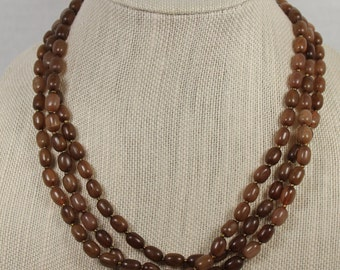 Amber Brown Vintage Beaded Necklace 3 Strands