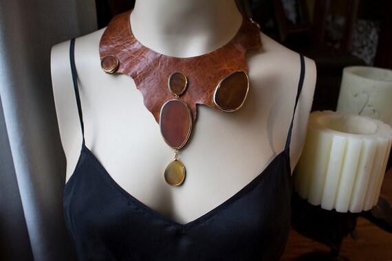 Unique Agate Leather Bib Necklace OOAK