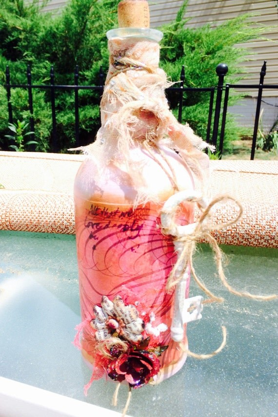 Pink Shabby Chic Bottle