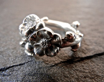 Apple Blossom Sterling Silver Spoon Ring