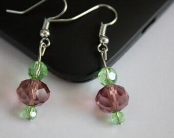 Earrings 3 stone green/violet.