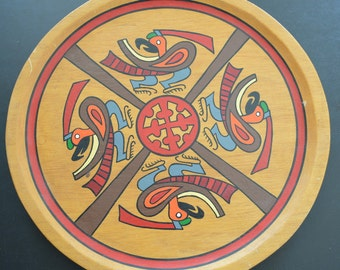 Vintage Wooden Panama Indian Culture Tray/ Wall Art 1969
