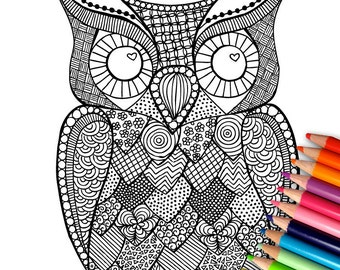 Owl - Hand drawn Adult Coloring Printable Page