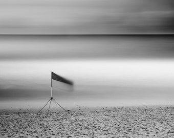 Fine Art Photograph, Black and White Seascape - Landscape, Long Exposure - Title: Safe to Swim