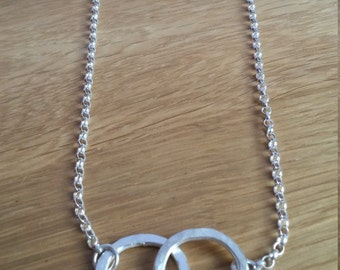 Sterling Silver Double Hammered Ring Necklace