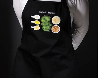 Kitchen aprons for the modern home chef. For men and women. (Pesto di Basilico, Italy) FREE SHIPPING