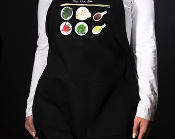 Kitchen aprons for the modern home chef. For men and women. (Tom Kha Gai, Thai) FREE SHIPPING