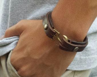 FREE SHIPPING-Leather Bracelet, Brown Leather Cuff , Bracelet For Men, Leather Bracelet, Anchor Hook Bracelet, Bangle For Him, Mens Bracelet