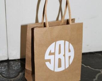Small Kraft Paper Monogram Gift Bag