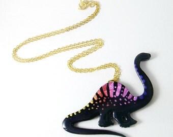 disco dinosaurs series // black brontosaurus necklace