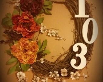 Fall- Custom Oval Grapevine Wreath- ombre