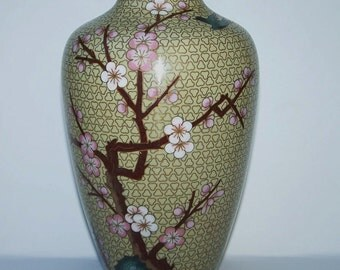 Chinese cloisonne' cherry blossom and bird vase