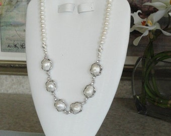 Pearl beaded necklace with pearl chainlink  -  27