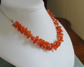 Carnelian beaded necklace  -  30