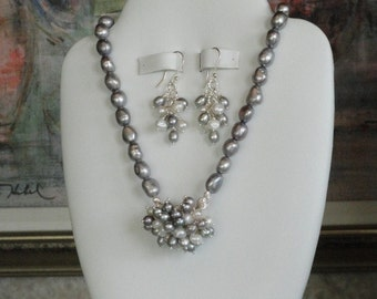 Gray and White Pearl beaded necklace  -  32