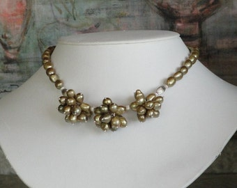 Golden Pearl beaded necklace  -  46