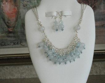 Aquamarine beaded necklace  -  48