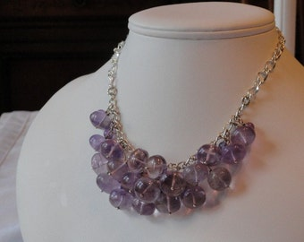 Amethyst beaded necklace  -  52