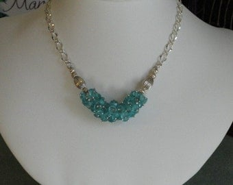 Neon Blue African Apatite beaded necklace  -  53