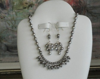 Antique silver and silver pearl beaded necklace  -  66
