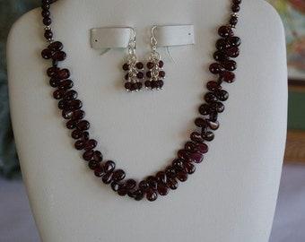 Garnet beaded necklace  -  68