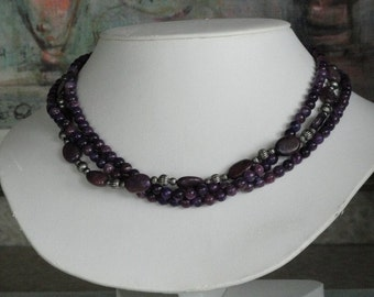 Multi-strand Plum Kunzite beaded necklace  -  74