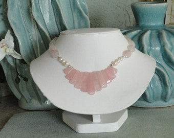 Pink Rose Quartz beaded necklace  -  75