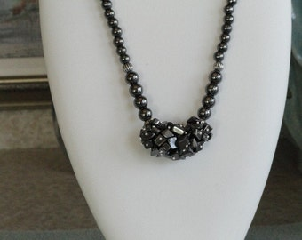 Hematite beaded necklace  -  79