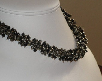 Onyx, Pearl and Pyrite beaded necklace  -  86